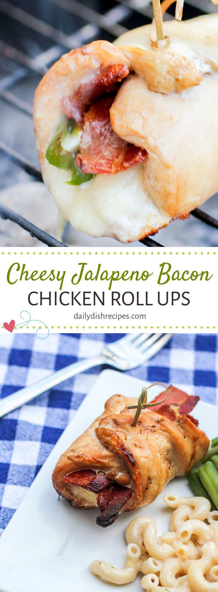 #ad Cheesy Jalapeno Bacon Chicken Roll Ups via @da…