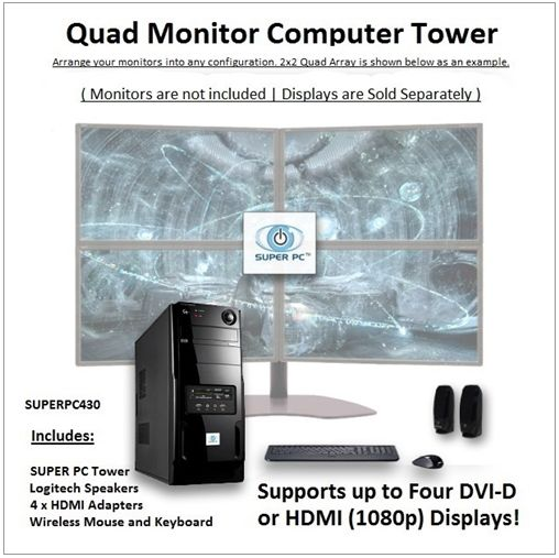 SUPER PC | Quad Monitor Micro-Tower | 7th Gen Intel Core i5 Quadcore CPU  Use the following Coupon Code during Checkout: VPC5PO     3.5Ghz Intel Core i5 Quad-Core CPU (3.9Ghz Turbo) 16GB of DDR4 PC12800 (1600Mhz) RAM Memory AMD Radeon RX 470 4GB GDDR5 [256-bit] Graphics Virtual Reality Ready and Compatible System 480GB SSD (Solid State Drive) 450MB/s Read & Write Windows 10 Pro 64-Bit OS with Restore Disc CD/DVD/RW Burner and BluRay reader Disc Drive All-In-One Flash/Digital Media Card…