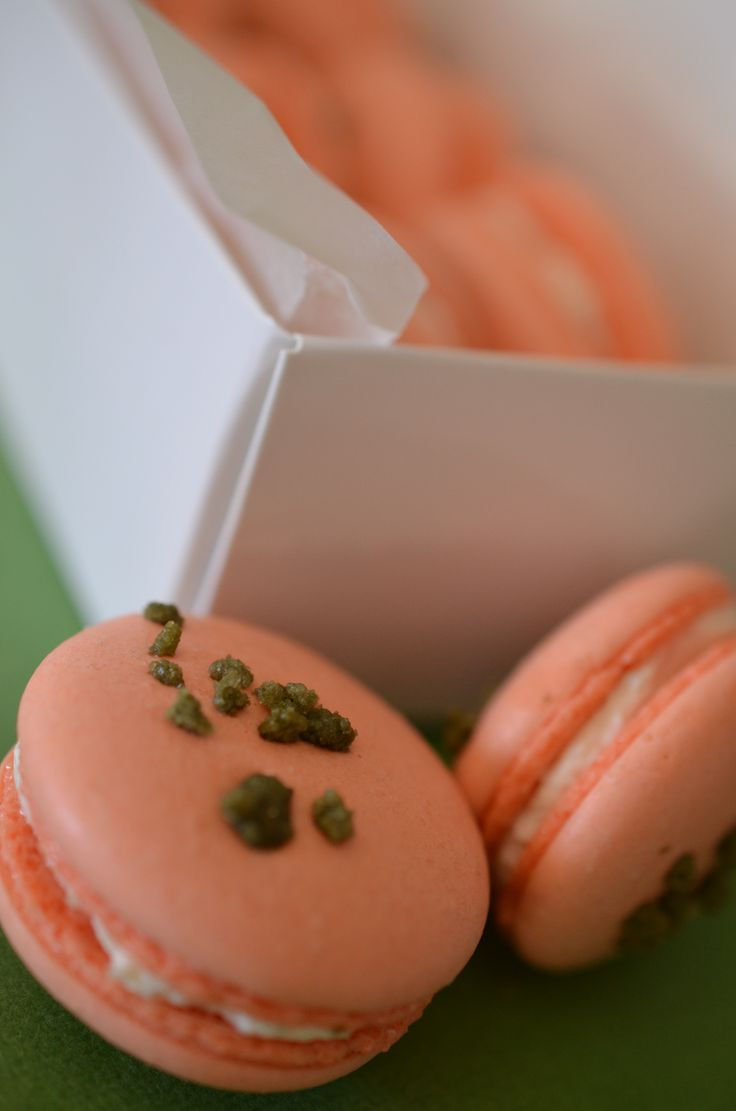 Tomato Basil savory macarons with garlic herb cream, goat, or brie cheese filling