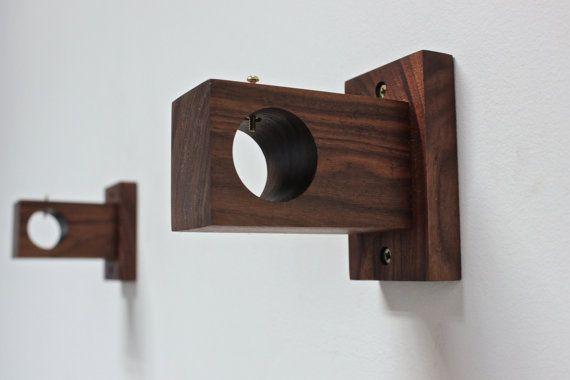 sostenedor de barra soporte de la barra de cortina madera