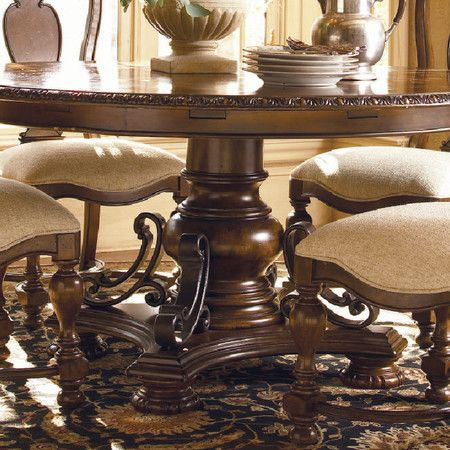 Featuring A Pedestal Base And Delicate Inlay Details, This Dining Table  Brings European Inspired Elegance To Your Home. A Concentric Leaf Adds  Versatile ...
