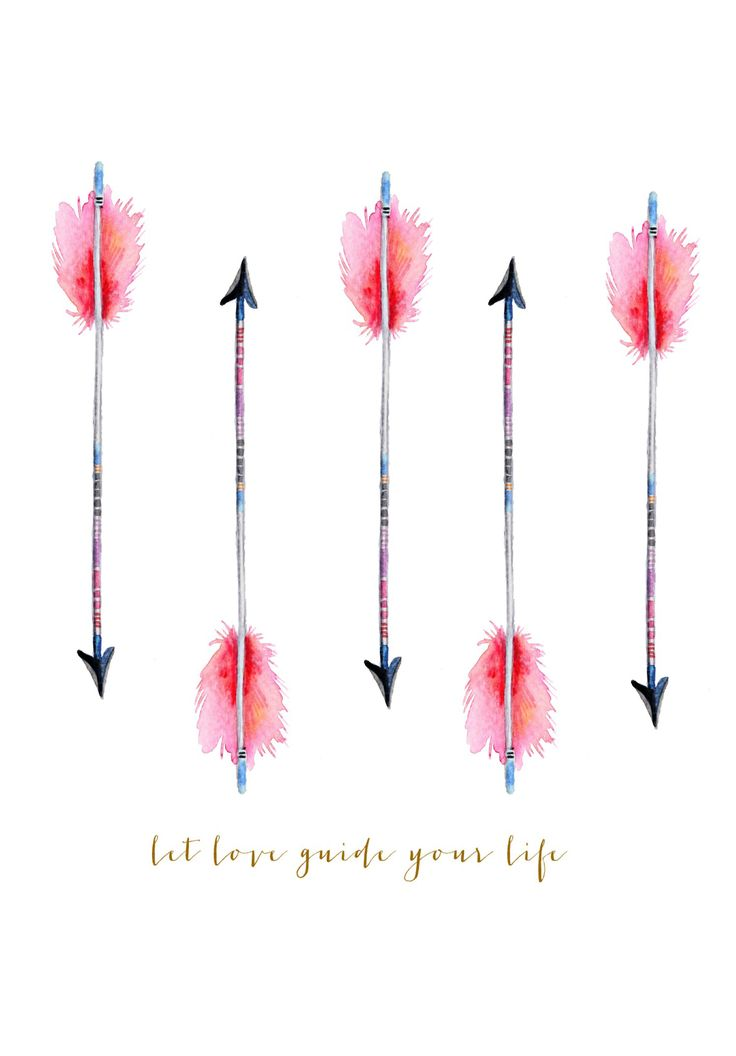 Let Love Guide Your Life watercolor arrow printable | http://www.craftberrybush.com