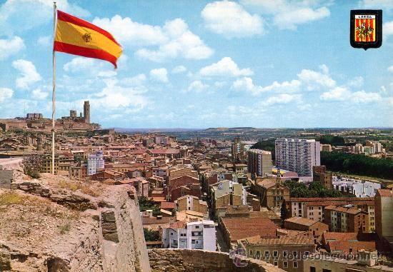 LLEIDA ( BANDERA ESPAÑA ONDEANDO ) - NO CIRCULADA (Postales - España - Cataluña Moderna (desde 1940))