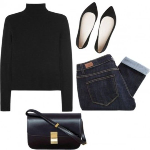 Skinny jeans, black turtleneck, classic black flats or pumps, classic black purse, and gold accessories.