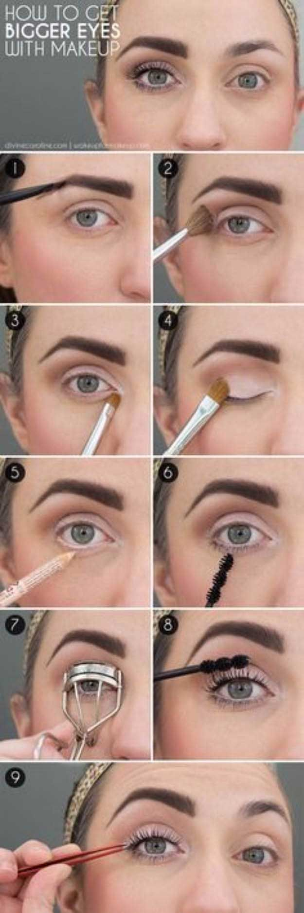 Makeup Tutorials For Small Eyes - How to Make Eyes Look Bigger - Easy Step By Step Guides On How to Apply Eyeliner and Get Perfect Lashes and Brows and How To Make Your Eyes Look Bigger - Beauty Tips for All Different Faces - Eyebrows and Cut Crease Youtube Videos for Girls - thegoddess.com/makeup-tutorials-small-eyes