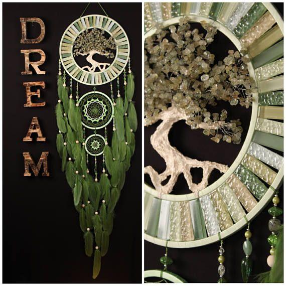 Green Dream Catcher Tree of life jade Dreamcatcher prehnite