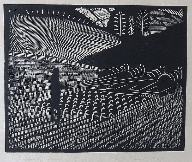 WHARTON ESHERICK (1887-1970), Harrowing, 1927, Woodblock print