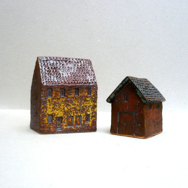 Ceramic Sculpture, Farmhouse And Barn Miniature Farmyard Buildings ($97) ❤ liked on Polyvore featuring home, home decor, miniature sculpture, country home accessories, country home decor, ceramic sculpture and ceramic home decor
