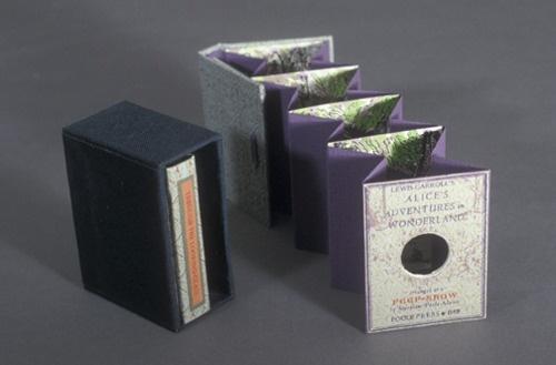 A Peepshow Alice,mini tunnel books by Maryline Pool Adams, letterpress.