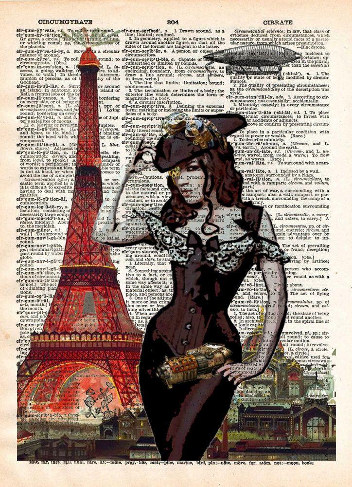 Eiffel Tower art, sexy steampunk pinup girl, book page art