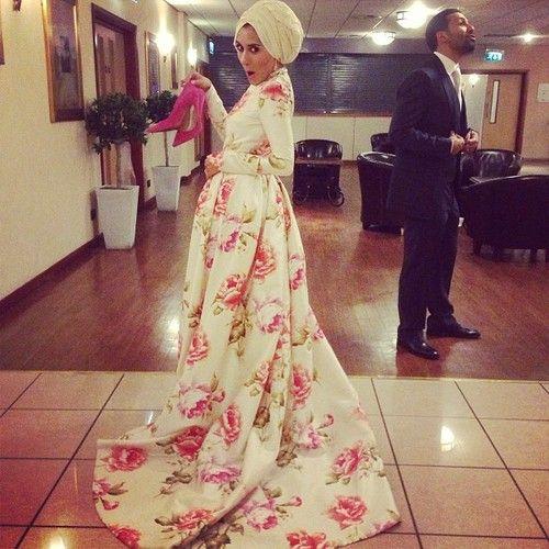 Dina Tokio's dress at her walima. #hijab