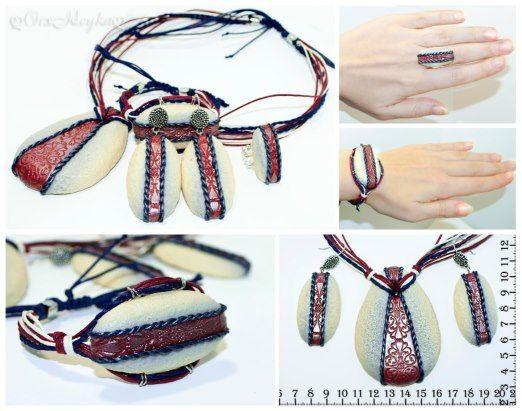 полимерная глина, ручная работа, купить, заказать, украшения, браслет, подвеска, кольцо, серьги, джинс, синий, красный, узор,  orxideyka, орхидейка