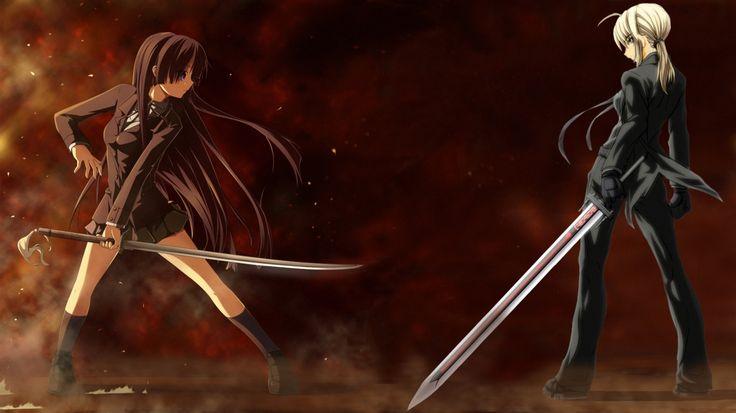 Wallpapers Anime Girl With Sword Laptop Girls Battle Twilight 1366x768 ...