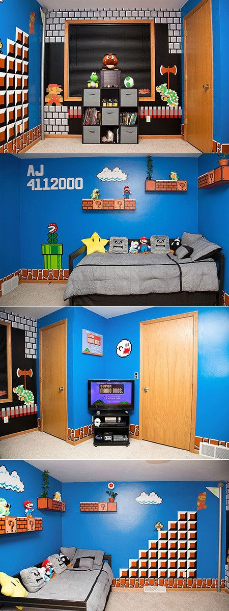 Redditor carpenter75 made this Super Mario Bros. themed bedroom for his daughter. The only parts of the decor that are stickers are Mario and Bowser; the rest was painted by hand. As far as cost, it was only about $700 and it even comes with soulds from the game.