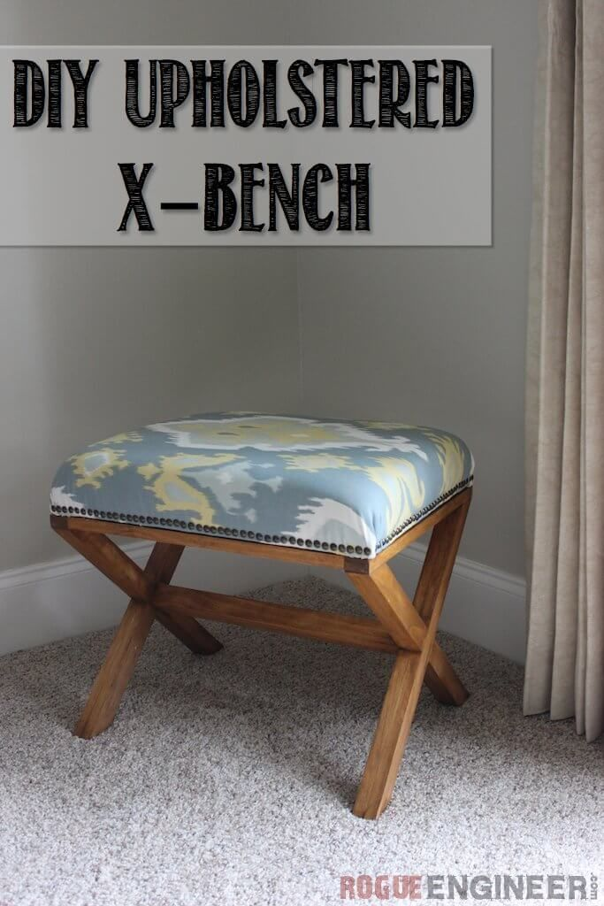 DIY Upholstered X-Bench | Free Plans | Rogue Engineer