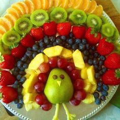 thanksgiving turkey made out of fruit - Google Search