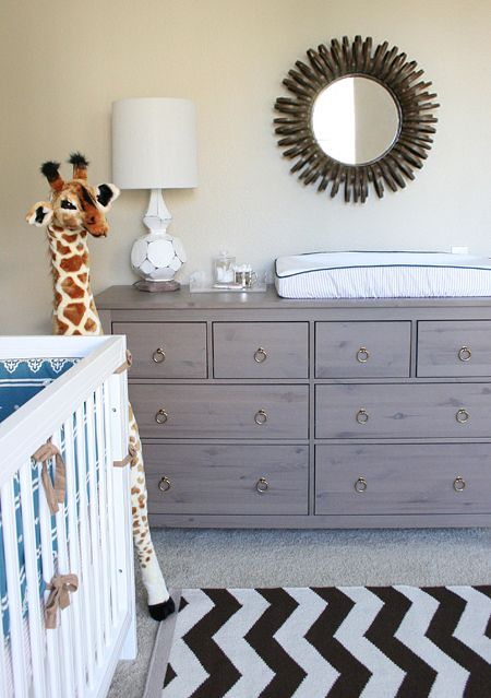 Ikea hemnes dresser with brass ring pulls added...darling boy nursery