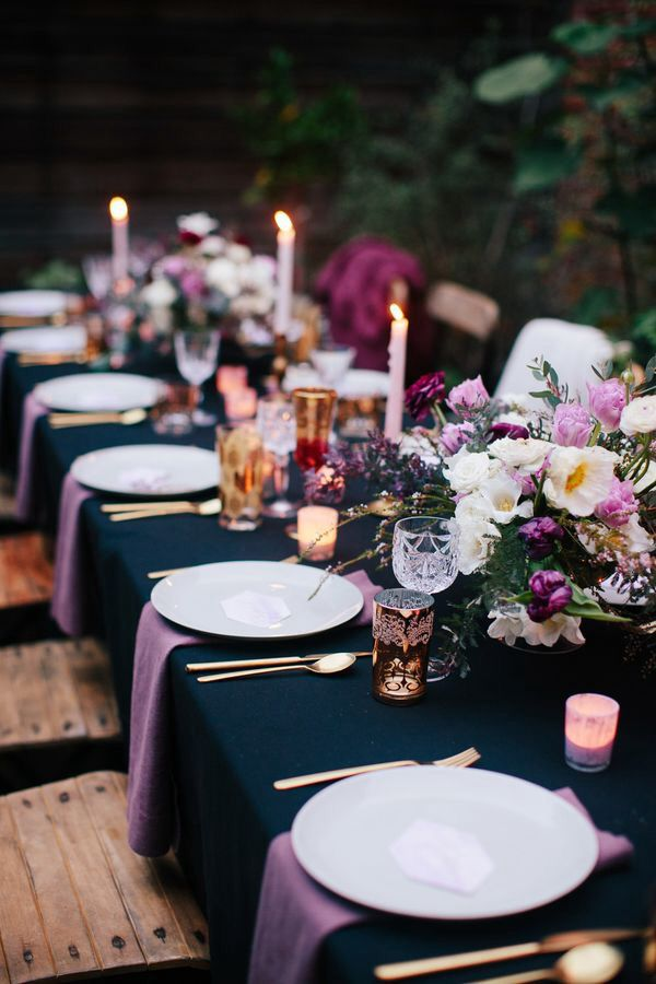 Elegant outdoor dinner- navy and purple theme