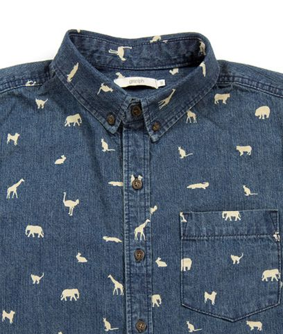 Multi Pattern Denim Long Sleeve Shirt