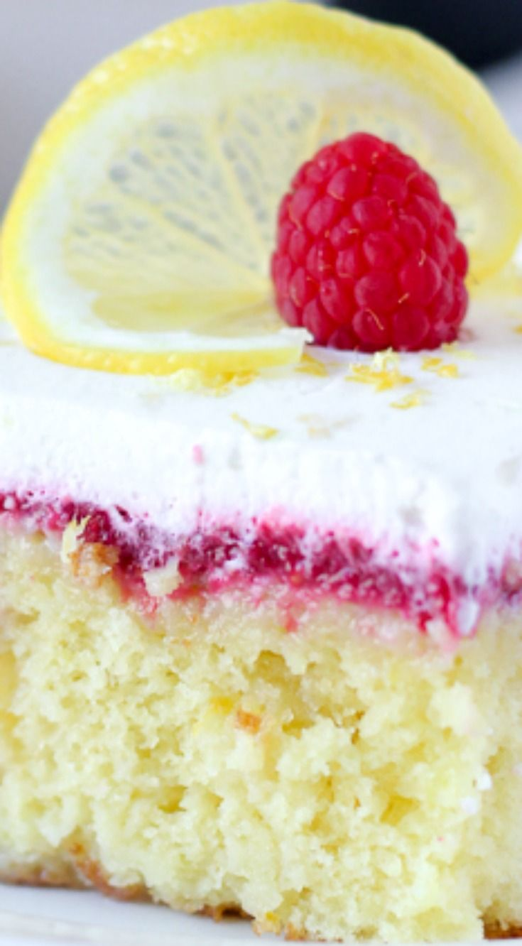Lemon Raspberry Poke Cake ~ An easy lemon cake soaked in sweetened condensed milk, with a fresh tart raspberry sauce and topped with homemade whipped cream