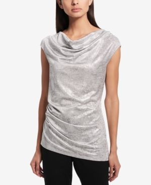 Calvin Klein Shine Printed Ruched Top - Silver XL