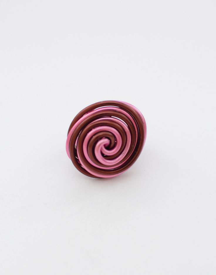 Brown and pink aluminum wire ring, summer ring, wrapped ring, aluminium ring, twisted ring, handmade ring, made to order ring, gift for her by MadebyLaure on Etsy