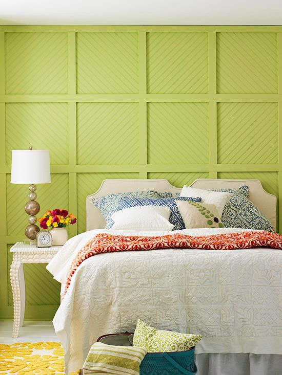 real life colorful bedrooms wood trim textured walls