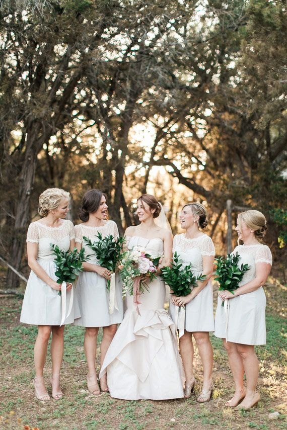 Silver dresses with super green bouquets!