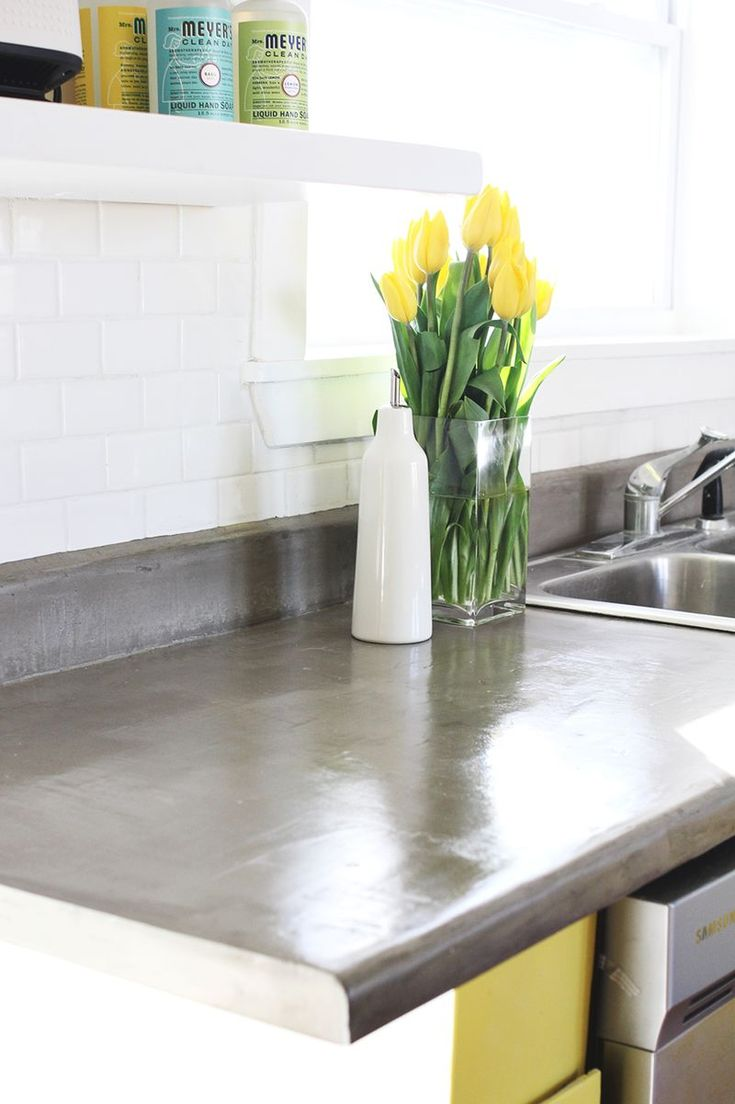Concrete countertop diy kitchen design inexpensive