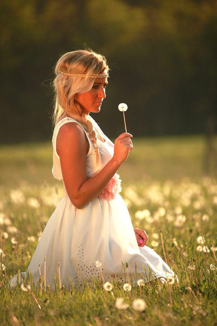 Adri spring hippie white dress dandelion girl meadow