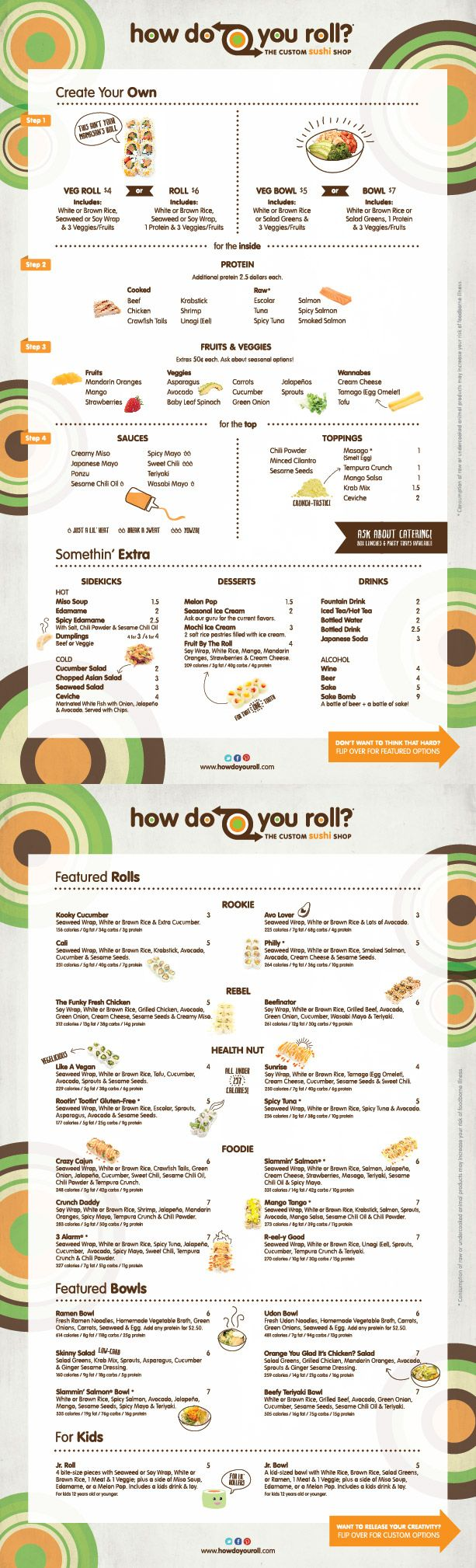 """""""How do you roll?"""" basically a sushi roll place, subway style. build your own roll :) road trip!"""