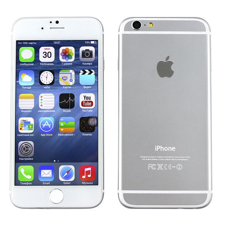 iPhone 6, 1 SIM, Android 4.2, 4.68 дюйма, 1 ГГц, 2 ядра, RAM 512 Мб, ROM 4 Гб, GPS, Wi-Fi, Bluetooth, белый