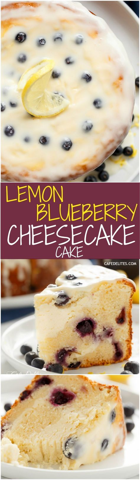 Blueberry Lemon Cheesecake Cake with a Lemon Cream Cheese Glaze to kick start your season! Baked in the one pan Easy to make with no layering!   http://cafedelites.com
