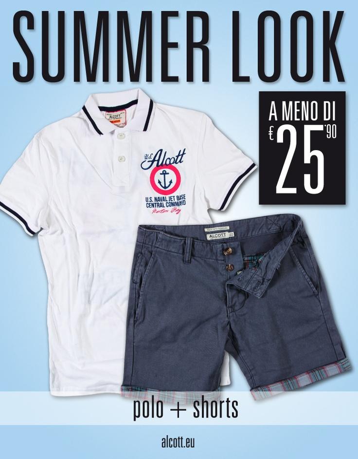 Alcott vi consiglia un SUMMER LOOK davvero speciale: POLO + SHORTS a meno di € 25,90! Ora in negozio! www.alcott.eu
