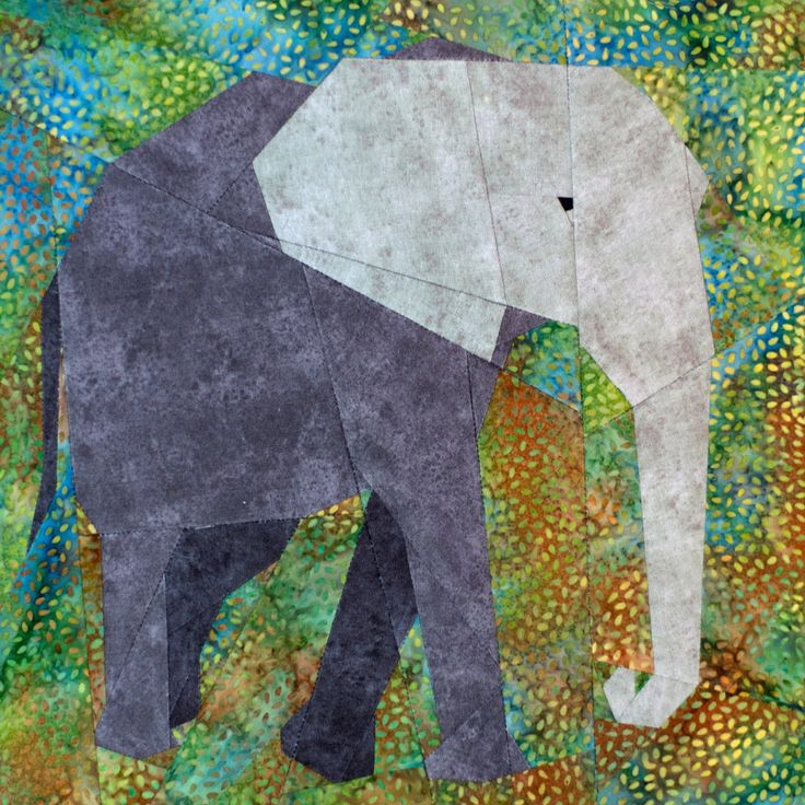 African Elephant paper-piecing quilt pattern, PDF. $6.00, via Etsy.
