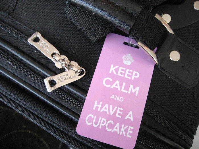 Keep Calm and Have a Cupcake Luggage Tag -  Bright Pink Luggage Tag- Pink and White - Keep Calm and Eat a Cupcake. $7.99, via Etsy.