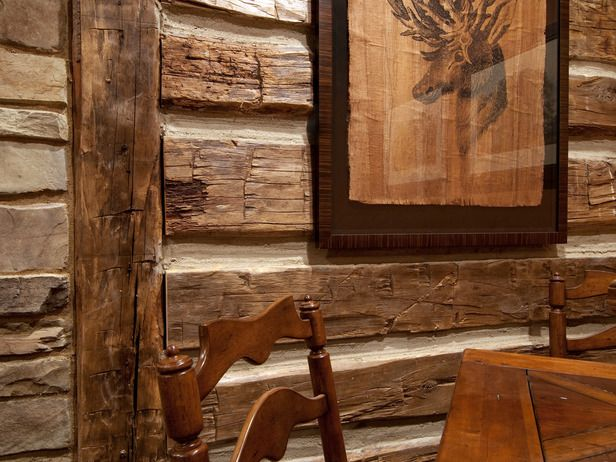 "faux ""log cabin"" wall with wood and chinking...we are doing this in office :)"