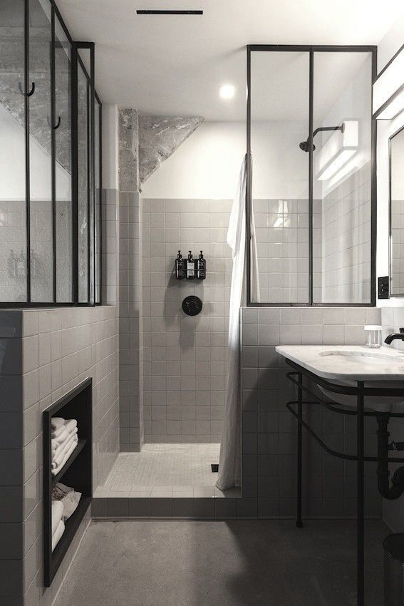 Mirifc A Bathroom With Black Details
