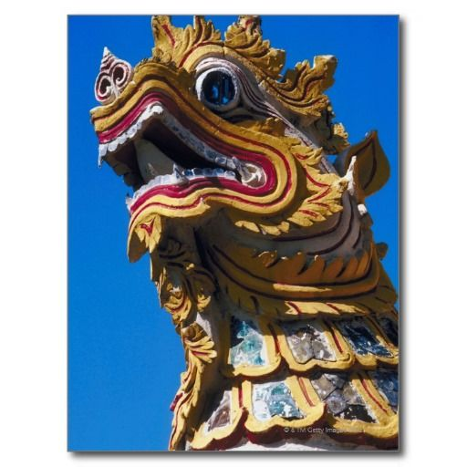 Multicolored dragon statue at Wat Duang Di Postcard