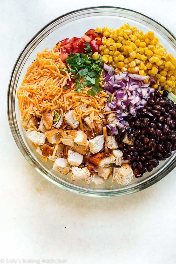 Fiesta in a bowl! This easy, make ahead chopped chicken salad is full of southwestern flavor and is on the table in minutes! Recipe on sallysbakingaddiction.com