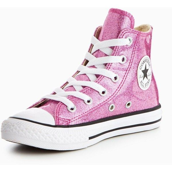 Converse Converse Chuck Taylor All Star Seasonal Glitter Hi Childrens... ($55) ❤ liked on Polyvore featuring shoes, sneakers, glitter trainers, fleece-lined shoes, converse footwear, converse sneakers and star sneakers