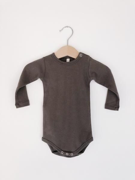 Ribbed Long Sleeve Onesie - Coal  974dc869f