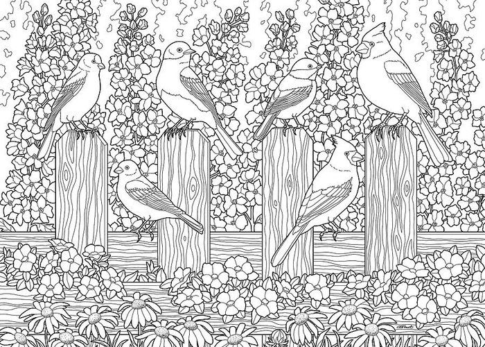 Birds In Flower Garden Coloring Page Greeting Card For Sale By Crista Forest Garden Coloring Pages Animal Coloring Pages Printable Flower Coloring Pages