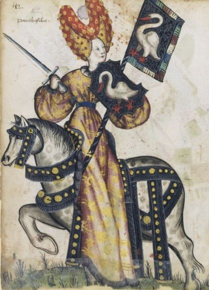 """""""Penthesilea as one of the Nine Female Worthies"""" 1460s, by an unknown French artist. In the Middle Ages, the Nine Worthies were nine historic, scriptural and legendary men who personified the virtue of chivalry. By the early Renaissance, there were also female Worthies. This example shows Penthesilea, an Amazonian queen who fought for Troy during the Trojan war."""