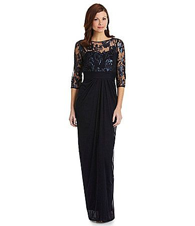 Adrianna Papell EmbroideredSequin Gown #Dillards