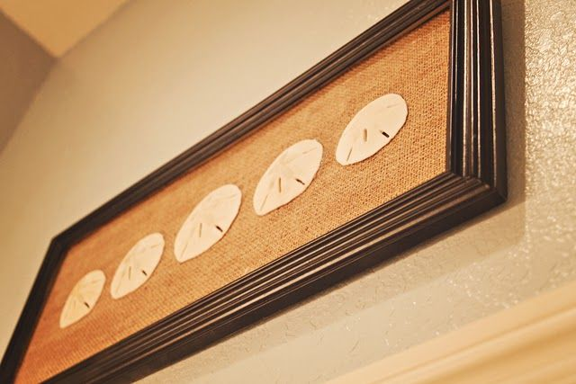 Sand dollars on burlap--now I know what to do with mine (before I move again and they disintegrate in transit again)