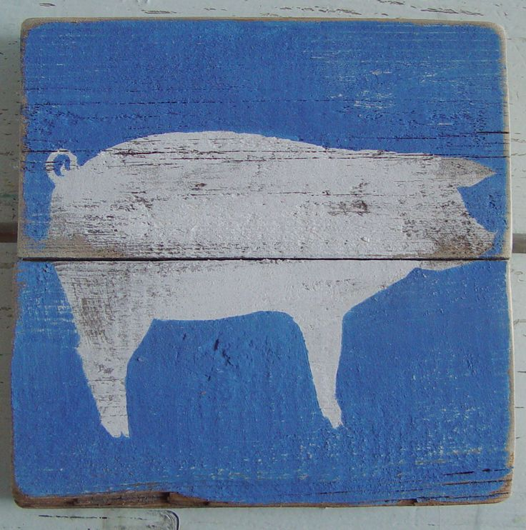free images of pigs to paint on wood | PIG Art on Reclaimed Picket Fencing Wood by ACleverSpark on Etsy