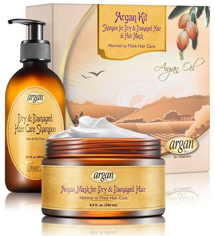 Deep Conditioner and Shampoo Argan Kit - Normal to Thick Dry Damaged Hair Types - Exclusive Herbal Oils Complex - Moroccan Hair Mask 8.5 oz and Salt Free Shampoo 10.1 oz Set *** Details can be found by clicking on the image.