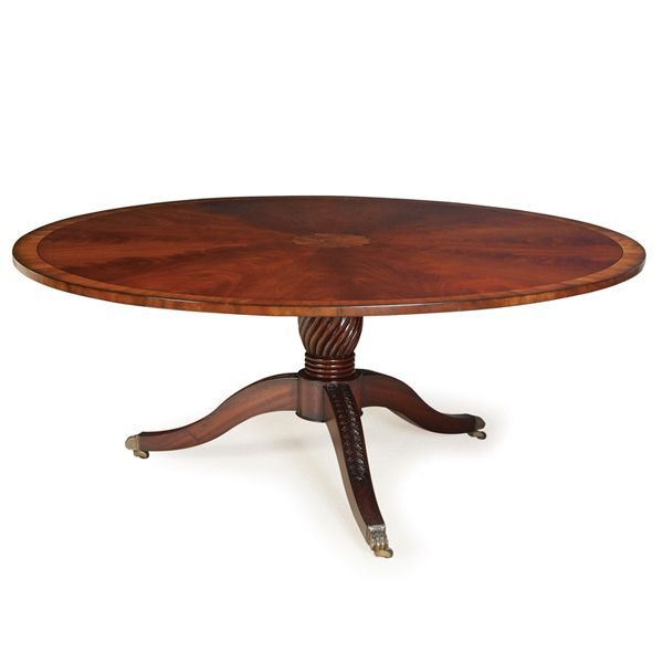 Antique Round Dining Table Design With Mahogany Veneer KMM 015