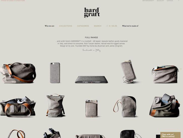 fin stil, men kanskje for stright   Ecommerce Website Design - Hardgraft